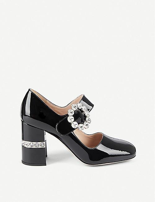 f145165b236 MIU MIU Crystal-embellished patent leather Mary Janes