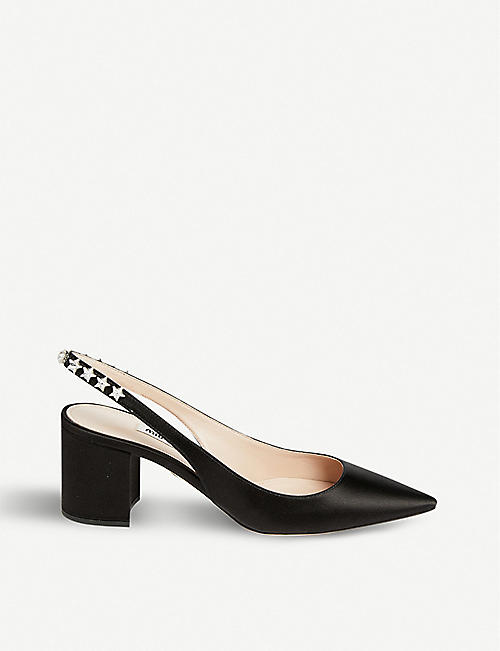 3b7349510 MIU MIU Crystal-embellished satin slingback pumps