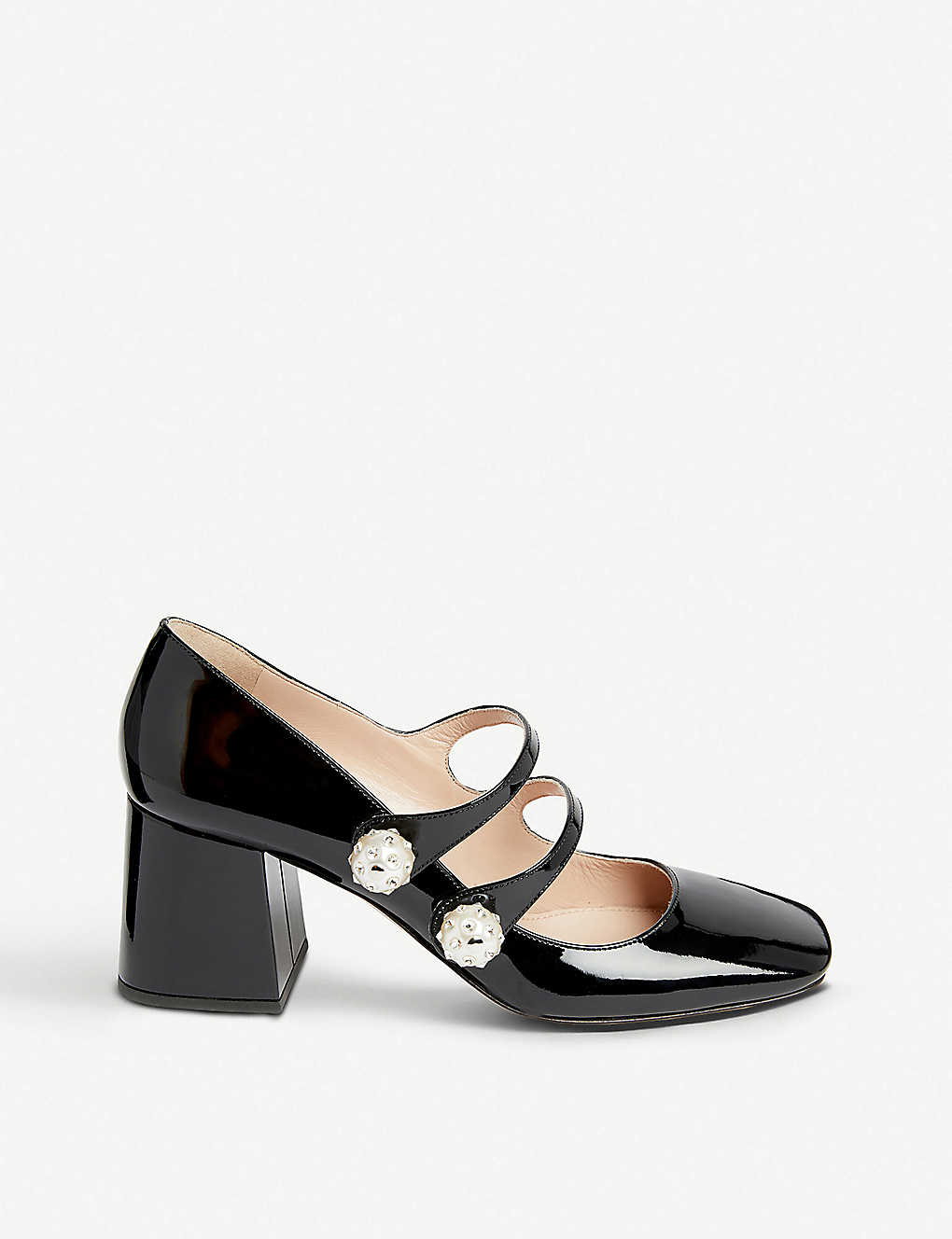 e5d1605105 ... Faux-pearl and crystal-embellished patent leather Mary Jane pumps -  Nero ...
