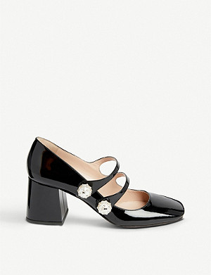 MIU MIU Faux-pearl and crystal-embellished patent leather Mary Jane pumps