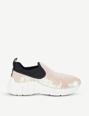 2fd17d47ea4f Miu Miu Slip-On Sequin Trainers In Pink