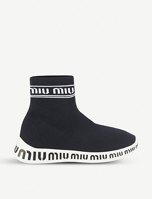 MIU MIU Logo-detail stretch-knit high-top trainers