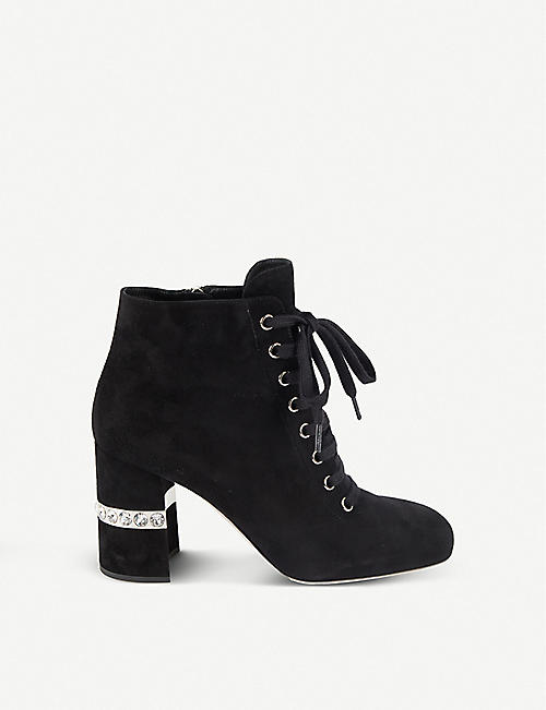 915c256d457 MIU MIU Crystal-embellished suede ankle boots