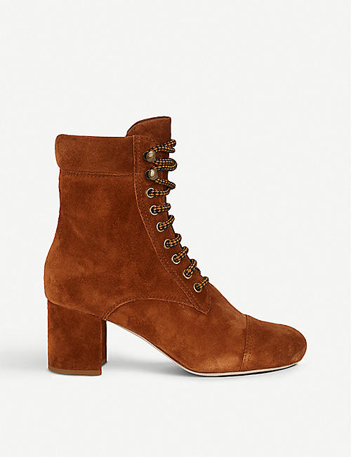 MIU MIU Lace-up suede heeled ankle boots