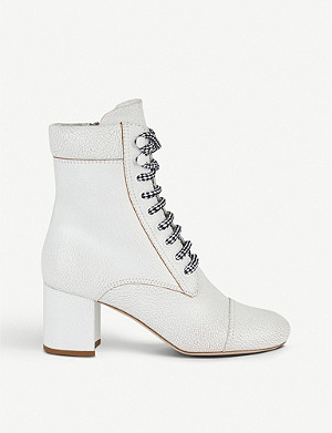 MIU MIU Lace-up crackled leather heeled ankle boots