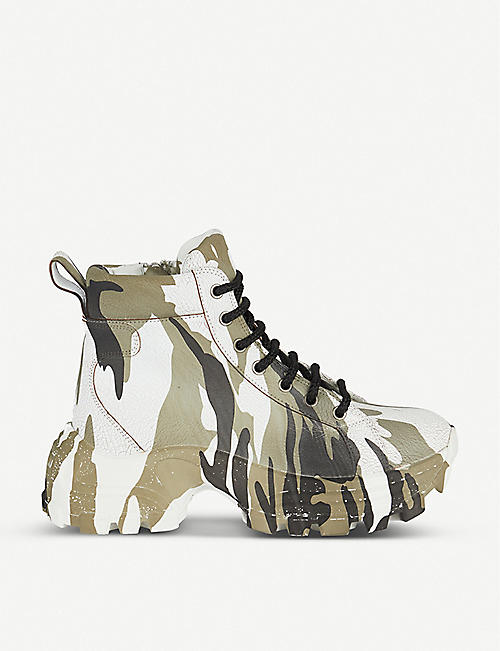 MIU MIU Camouflage-print crackled-leather boots