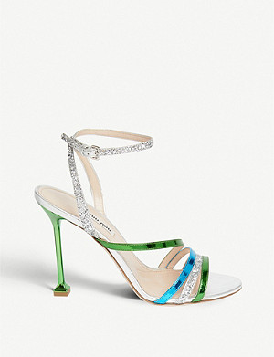 MIU MIU Metallic contrast-strap leather and glitter sandals