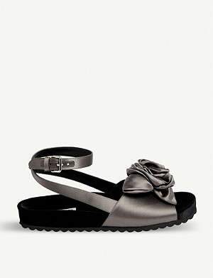 MIU MIU Rose-appliquéd satin flatform sandals
