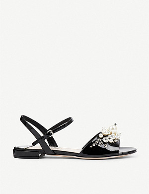 MIU MIU Crystal and faux peal-embellished patent-leather sandals