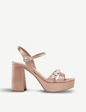 MIU MIU Crystal-embellished satin sandals