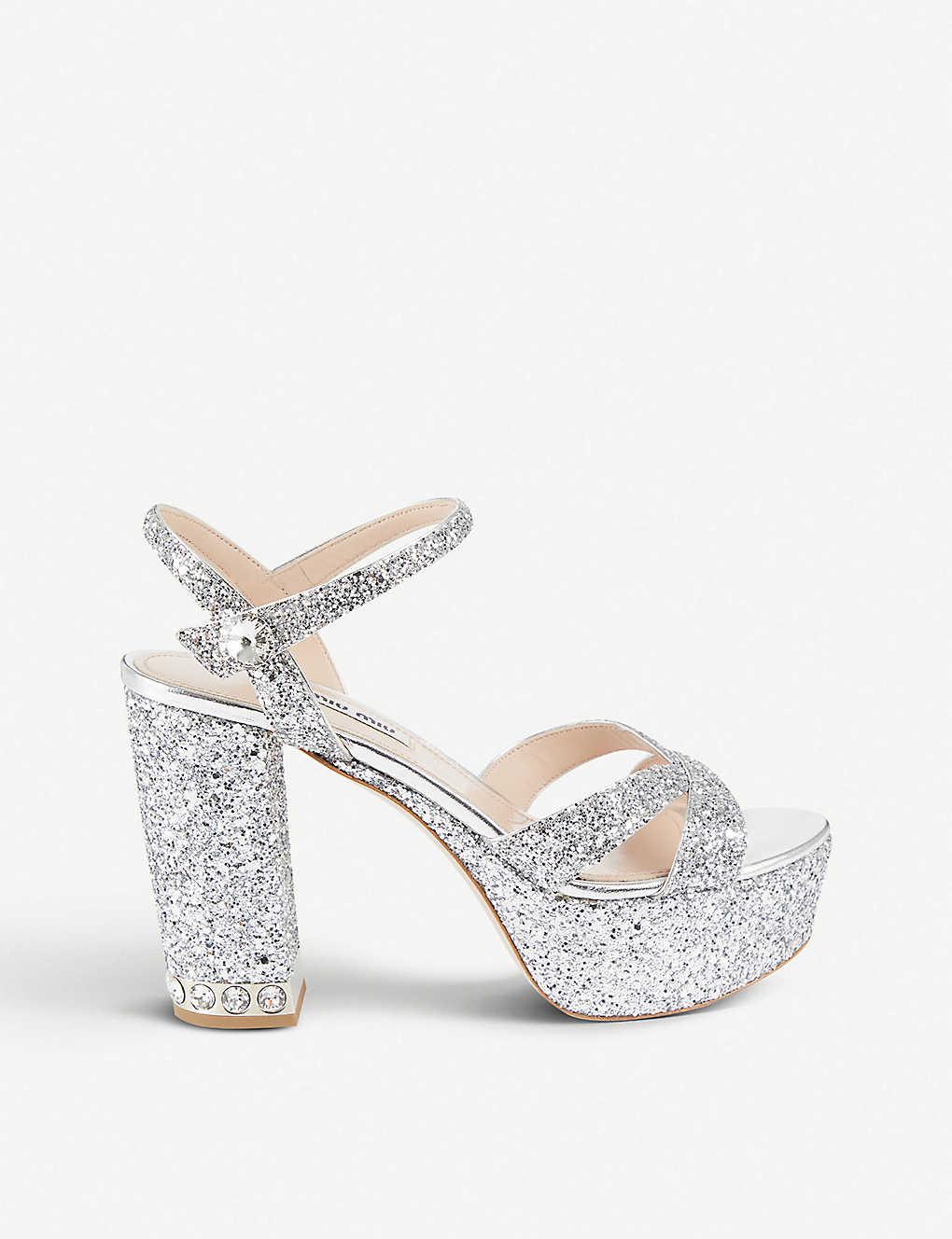 ca249fb9f555 MIU MIU - Glitter platform sandals   Selfridges.com