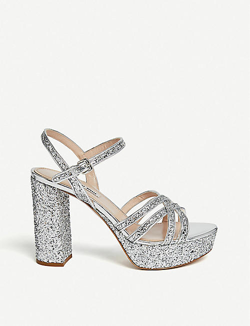 MIU MIU Criss-cross strap glitter platform sandals 5dbb903e24