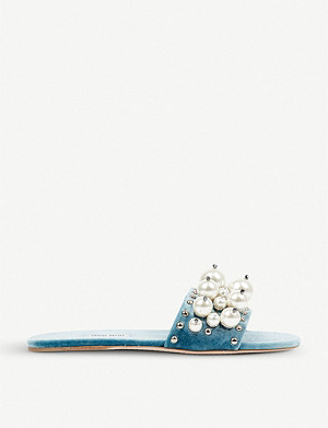 MIU MIU Faux pearl-detailed velvet sliders