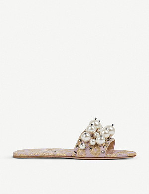 MIU MIU Faux-pearl detailed cloqué jacquard sliders