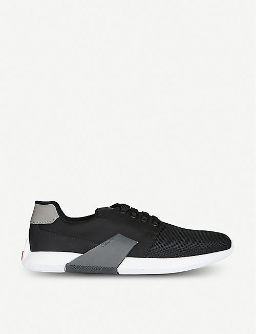 PRADA: Rubberised-leather and mesh trainers