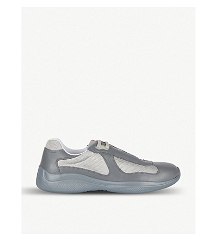 PRADA - America s Cup patent-leather and mesh sneakers  00e4223077fc4