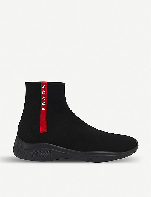 PRADA America's Cup stretch-knit high-top trainers