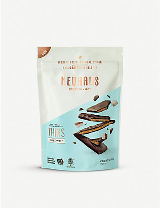 NEUHAUS: Dark Chocolate Covered Nougatines Thins with coconut 114g