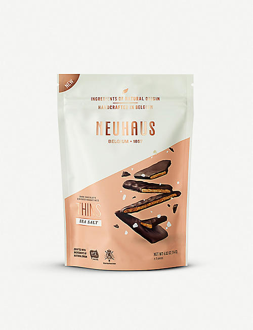 NEUHAUS: Dark Chocolate Covered Nougatines Thins with sea salt 114g