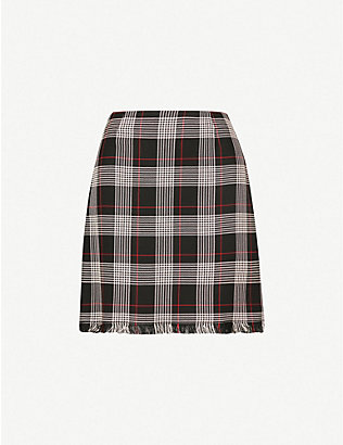 PINKO: Silvio checked woven mini skirt