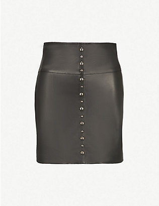 PINKO: Simone leather mini skirt