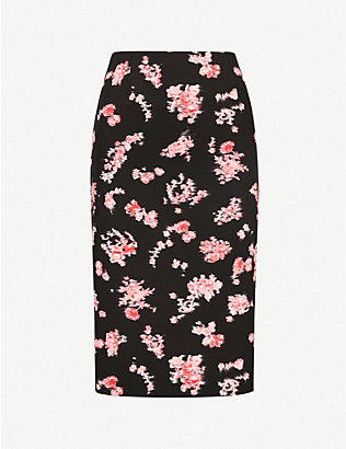 PINKO: Jami floral-pattern woven pencil skirt