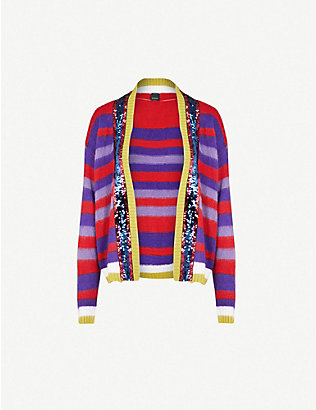 PINKO: Slide sequin-embellished mohair-blend cardigan