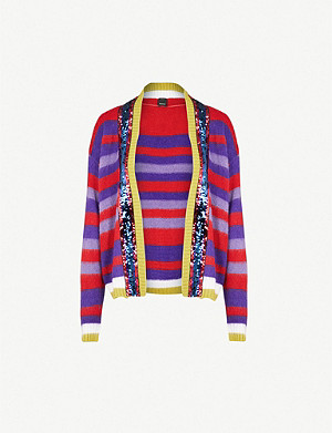 PINKO Slide sequin-embellished mohair-blend cardigan