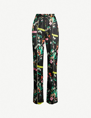 PINKO Bice high-rise floral-print satin straight-leg trousers