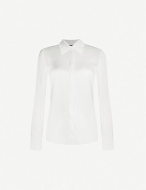 PINKO Amazing blouson-sleeve silk-blend satin shirt