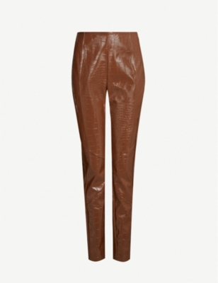 PINKO Gradino mid-rise tapered faux-crocodile skin trousers