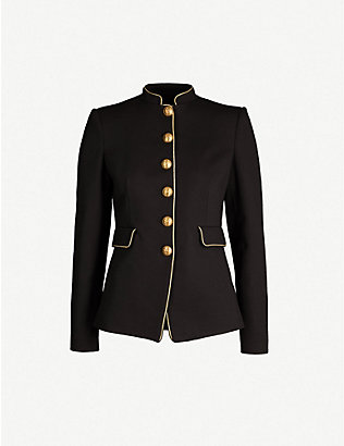 PINKO: Etichetta piped-trim woven jacket