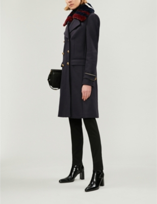 newest fc6a0 9e915 PINKO Quadro double-breasted faux-fur and wool-blend coat