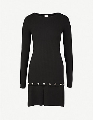 PINKO: Campsis ribbed-knit mini dress
