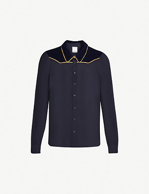 PINKO Fresa velvet-panelled piped-trim chiffon shirt