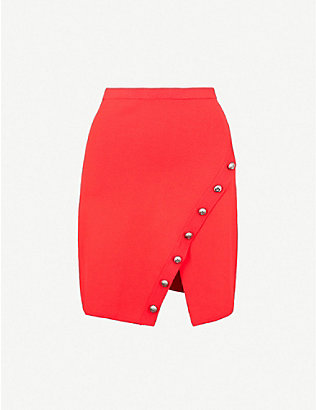 PINKO: Gladiolo asymmetric knitted mini skirt