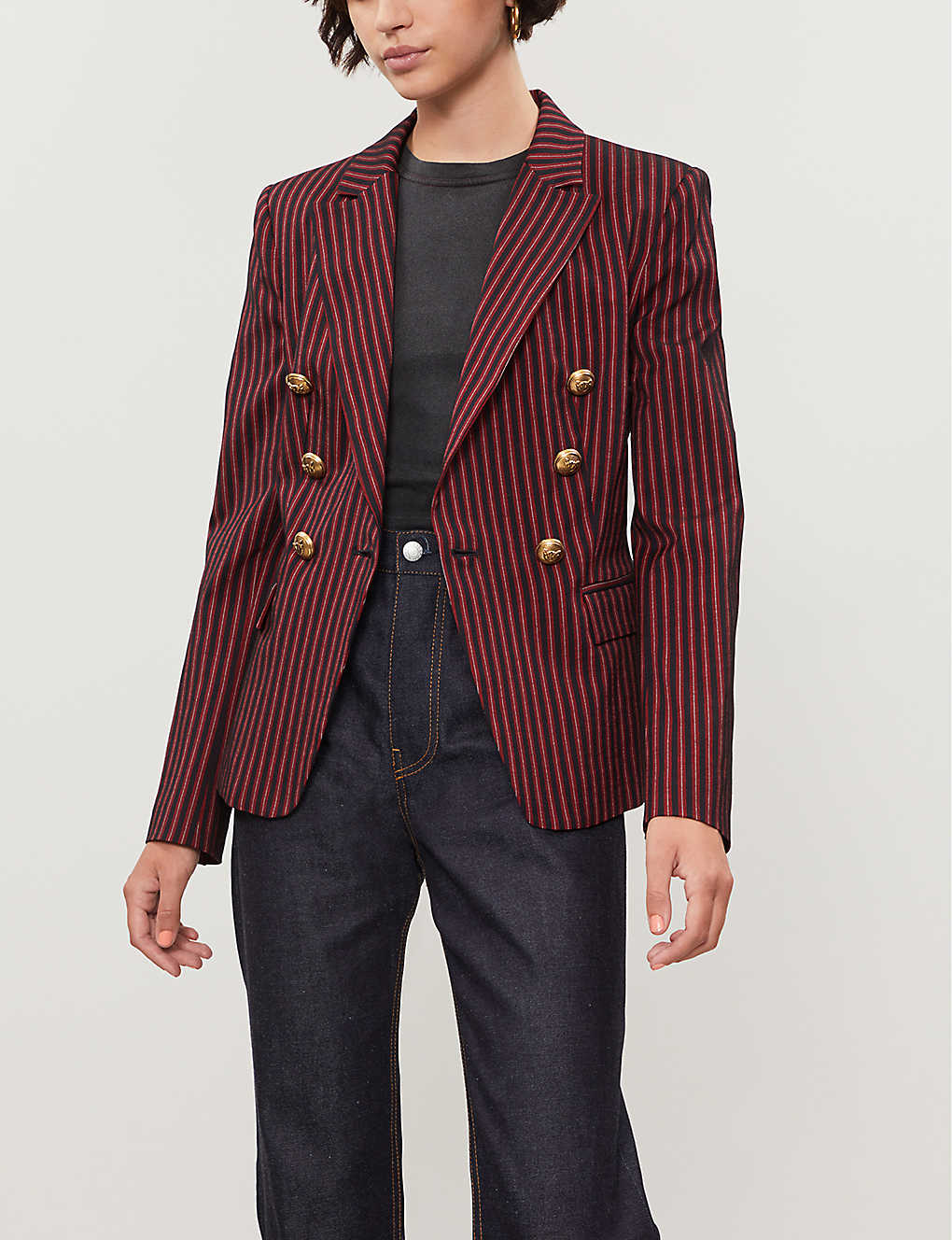 PINKO: Incudine striped double-breasted wool-twill blazer