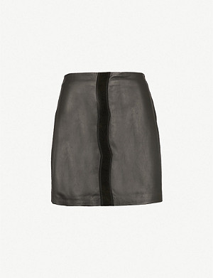 PINKO Sonda leather mini skirt