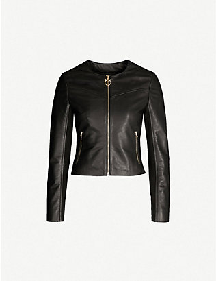 PINKO: Irroratrice leather jacket
