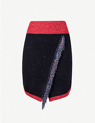 PINKO: Aconito fringe-trimmed knitted mini skirt