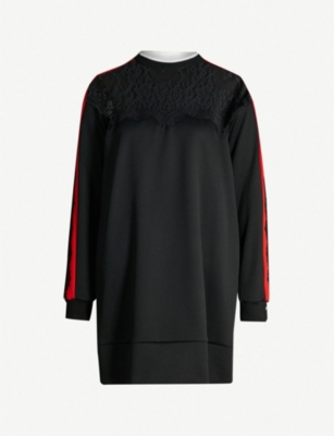 PINKO Lace-panel stretch-jersey sweatshirt