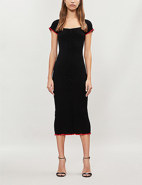 PINKO Dolcetto braided-trim rib-knit dress