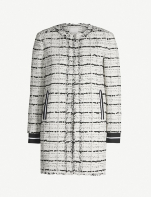 PINKO Baldanzoso frayed contrast-trim cotton-blend coat