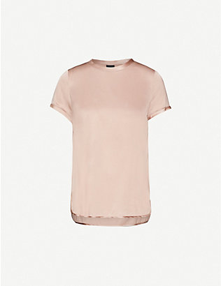 PINKO: Tirare silk-blend satin T-shirt