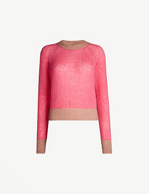 PINKO Quaggiu metallic-trimmed knitted jumper