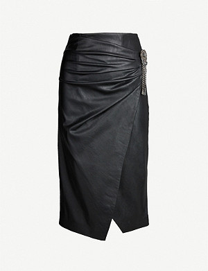 PINKO Cagliare high-waist faux-leather skirt