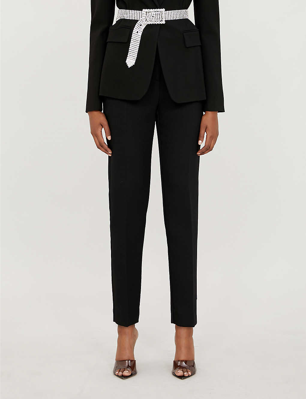 PINKO: Bella slim-fit cropped stretch-twill trousers
