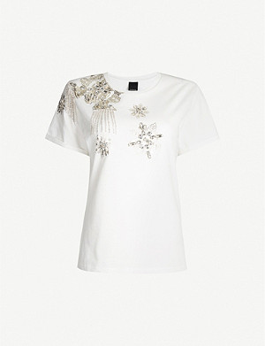 PINKO Livellare floral-print embellished cotton-jersey T-shirt