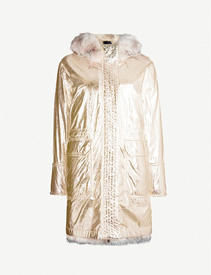 PINKO Protestare faux-fur hooded metallic parka