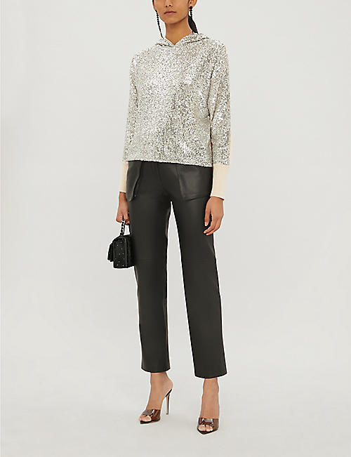 PINKO Poiche sequins and knitted hoody